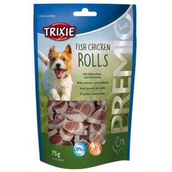 Trixie лакомство для собак PREMIO Chicken and Pollock Stripes роли курица/лосось 75гр.